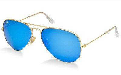 Ray Ban RB 3025 112/17 Gold Frame Blue Flash Mirror Lens Aviator Sunglasses 58mm