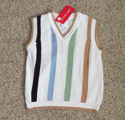 IMP Originals Boys White Striped Cotton Vest - Size M(5-6) - NWT