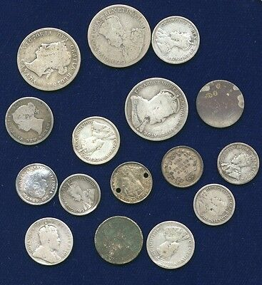 Canada 5, 10, & 25 Cents Silver Coins, Group Lot Of (16), 1901, 1910 Quarters,..