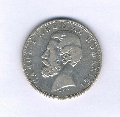Romania Kingdom  Carol I  1881  5 Lei  Silver Coin, Circulated Vf