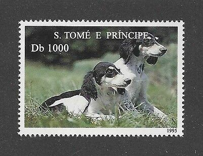 Dog Photo Body Study Portrait Postage Stamp Parti SALUKI Sao Tome & Principe MNH