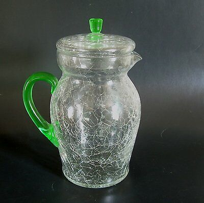 Antique Crackle Glass Pitcher Clear & Green Vaseline w/ Lid Old Vintage Art Deco