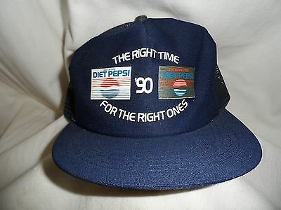 "Vintage 1990 Diet Pepsi Mesh Trucker Hat ""Right Time for the Right Ones"""