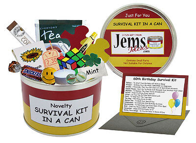 60TH BIRTHDAY Survival Kit In A Can. Fun Novelty Gift Card Present Male/Female