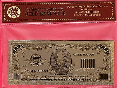 1928 USA $1,000 ~ Wr Gold Banknote Series ~ 24k Gold Plated!