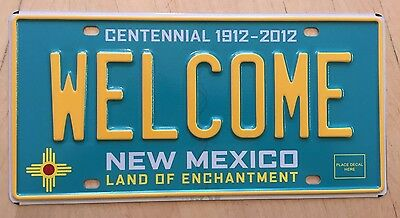 "Mint New Mexico Turquoise Centennial  Sample  License Plate "" Welcome "" Nm"