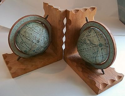 Vintage Pair Old World Globe Bookends Made in Hong Kong ~ Make Offer