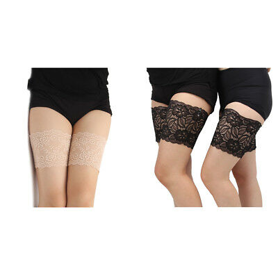 Womens Lace Elastic Non Slip Socks Anti-Chafing Thigh Bands Prevent Leg Warmers