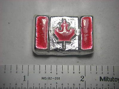 Enameled Canadian flag - Beaver Bullion hand poured 1 troy ounce 999 fine silver