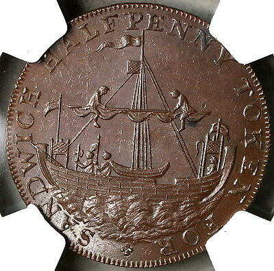 1790s NGC MS 62 *ANCIENT SLOOP* Conder 1/2 Penny Kent Sandwich DH 39 (16112610C)