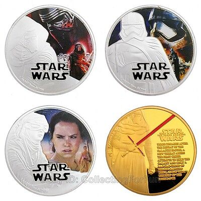 A Set of 4 Pcs 2016 Star Wars: The Force Awakens Colored Commemorative Coins