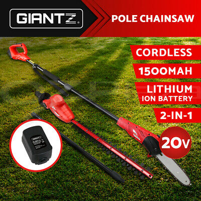 Giantz New 20V Lithium Pole Chainsaw Hedge Trimmer Battery Electric Cordless