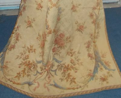 Fabulous French Antique Silk Brocade Portiere / Door Curtain From French Chateau