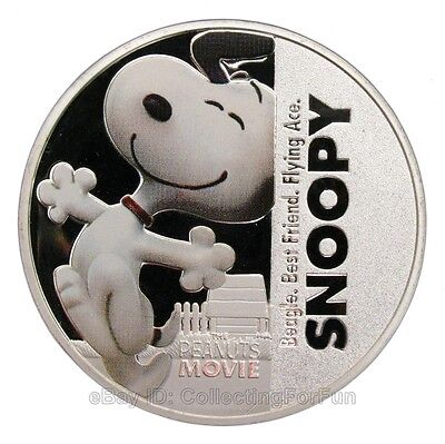 Snoopy Peanuts Cartoon Colored Silver Commemorative Coin Anime Fans Collection