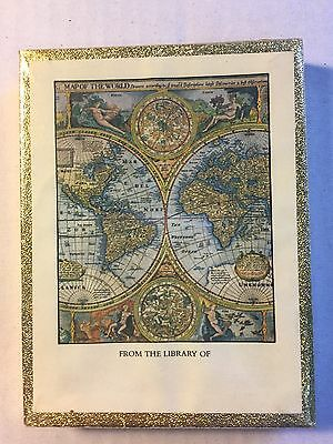 """Antique Global Map """"FROM THE LIBRARY OF"""" Antioch 50 Bookplate Book Unopened NOS"""