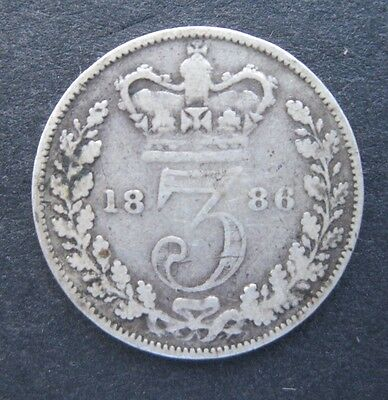 1886 Threepence - Queen Victoria Young Head silver coin