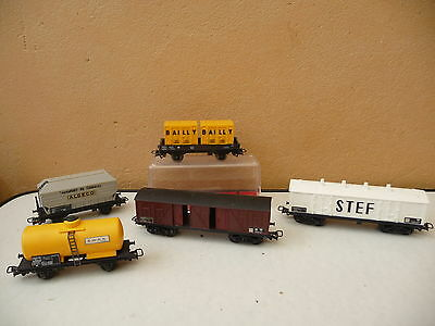 JOUEF  HO LOT de 5 WAGONS  avec containers Bailly