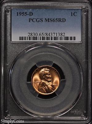 1955-D Lincoln Wheat Penny Cent 1c ~ PCGS MS65 RED ~ STUNNING! #1382