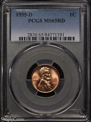 1955-D Lincoln Wheat Penny Cent 1c ~ PCGS MS65 RED ~ STUNNING! #1391