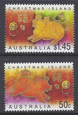 2007 Christmas Island Year Of The Pig Set Of 2 Fine Mint Mnh/muh