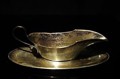 Vintage Small Sterling Silver Gravy/sauce Boat & Tray