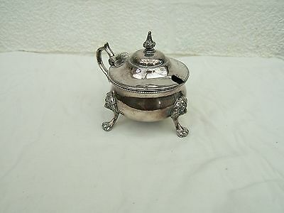 Antique  Silver  Plated Mustard  Pot  With  Blue Glass Liner.