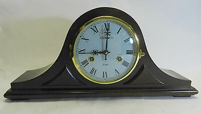 Vintage Wood and Sons Mahogany Mantle napoleon hat Clock 31day
