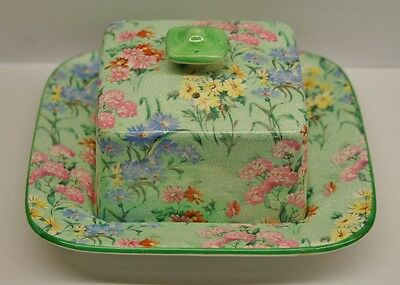 "Rare Vintage 1930's SHELLEY Art Deco ""MELODY"" Chintz Pattern BUTTER DISH"