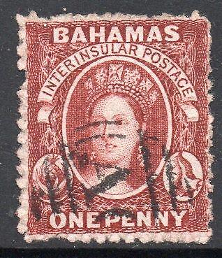 BAHAMAS SG17 1862 1d Brown-Lake Perf 13