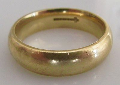 Secondhand Large 9ct Yellow Gold D Shape Wedding Band (6mm) Ring Size U 1/2