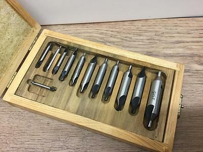 Countersink Centre Drill Set Double Ended In Wooden Box V.g.c