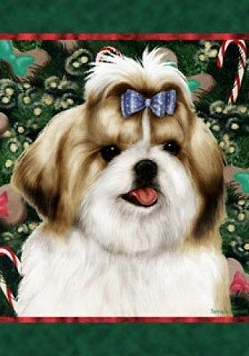 Large Indoor/Outdoor Holiday Flag - Tan & White Shih Tzu 14229