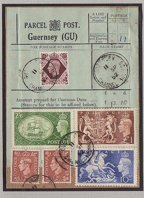 Guernsey Rare Kgvi Parcel Post Label Used 1952 With Festival High Values Etc.