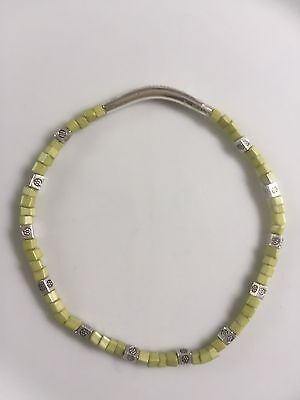 Square Lime Green Glass & Silver Tone Bead Boho Stretch Anklet Ankle Bracelet