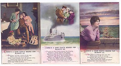 Set Bamforth Song Cards,There's A Ship Bound for Blighty ,#4994 + packet (C)