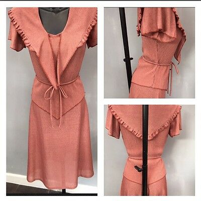 True Vintage Salmon Coloured Skirt & Top Set I Would Say Size 10/12