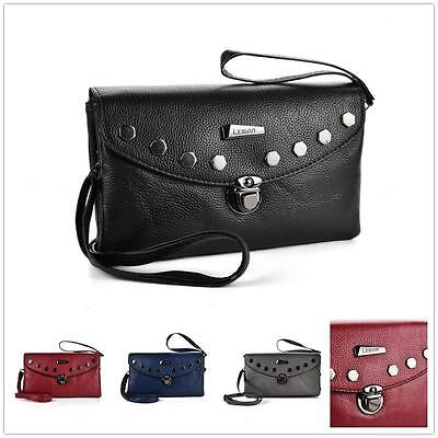 Ex-Chain Store Artificial Leather Studs Cross Body Bag Party Bag with 2 Strap