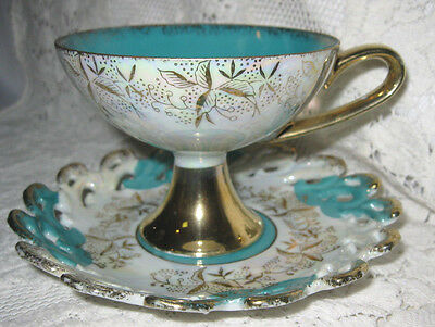 Lefton Iridescent Luster & Turquoise Footed Cup & Saucer Set  w/Cut out Design
