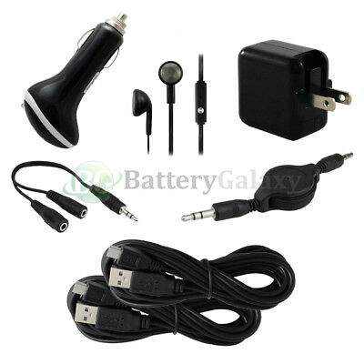 7pc 2x 10FT USB Micro Cable+2 RAPID Car/Wall Charger 1.5A for Android Cell Phone