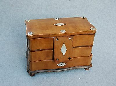 Sewing Chest Box Caddy Antique Wood Swing-Out Drawer Mother-of-Pearl Decoration