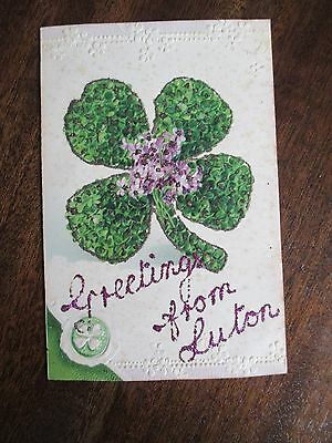 "Old Unusual Colour Postcard, "" Greetings From Luton  "" . 2"