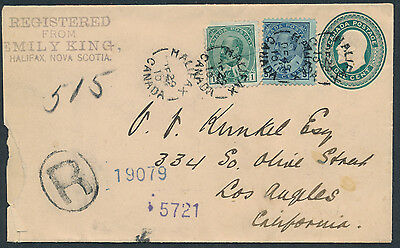1910 #EN16 1c Edward VII PSE, Registered, Halifax NS to USA, 1c and 5c Edwards