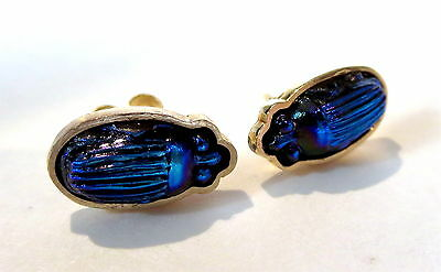 TIFFANY Glass BLUE FAVRILLE Scarab 14K Yellow GOLD Earrings PAIR - LC Tiffany