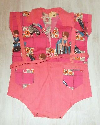 ADORABLE UNUSED FRENCH NOVELTY PRINT FABRIC 1930s COTTON ROMPER / PLAY SUIT