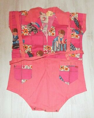 Unused French Novelty 1930S Cotton Print Romper / Play Suit And Parasol