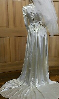 LOVELY Vintage 40s Wedding Gown Dresses Rayon Satin 4 Shorter Gal w Train