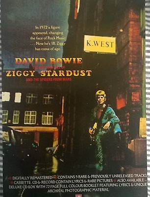 Music Press Advert  For The David  Bowie  Remastered 'the Rise And Fall Of Ziggy