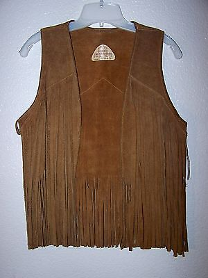 Vintage Cherokee Leather Fashions  Western Hippie Fringe Vest M