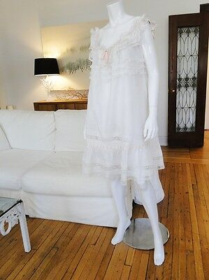 Circa 1900, Lovely Ladies Lawn Nightgown W/ornate Valencienne Lace,ribbons