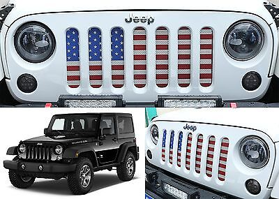 American Flag Usa Grill Inserts For 2007 2017 Jeep Wrangler Jk New